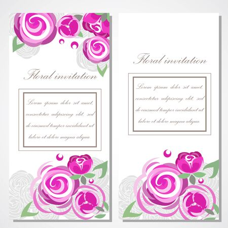 disign: invitation with pink roses for your disign