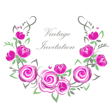 wreath from flowers for your disign Illustration