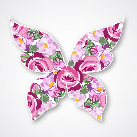 butterfly isolated: Isolated multicolor butterfly. Paper butterfly with roses for your design Illustration