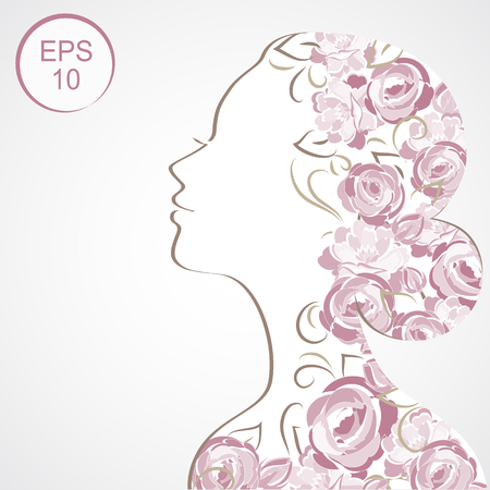 flowered: Stock Woman Flowered Silhouette. Woman profile for your design Illustration