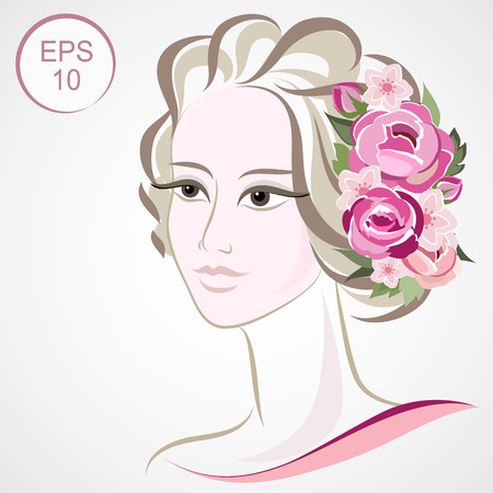 flowered: Stock Woman Flowered Silhouette. Woman face for your design Illustration