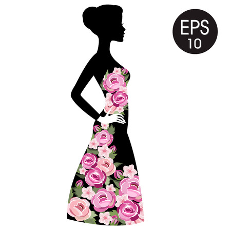 flowered: Stock Woman Flowered Silhouette in black dress. Woman black profile for your design Illustration