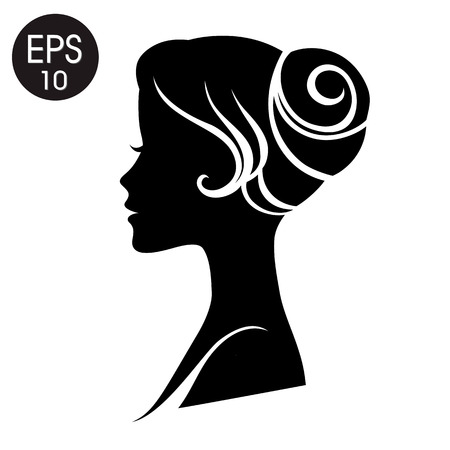Woman Face. Black Woman Silhouette. Vintage profile for your design Illustration
