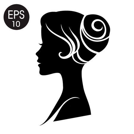 Visage de femme. Noir Silhouette femme. profil vintage pour votre conception