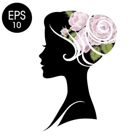 Woman Face. Black Flowered Silhouette. Vintage profile for your design Çizim