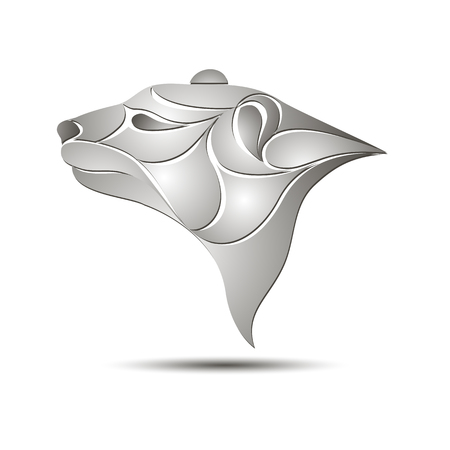 White Bear Head Profile Logo. Stock vector illustration for your design Illustration