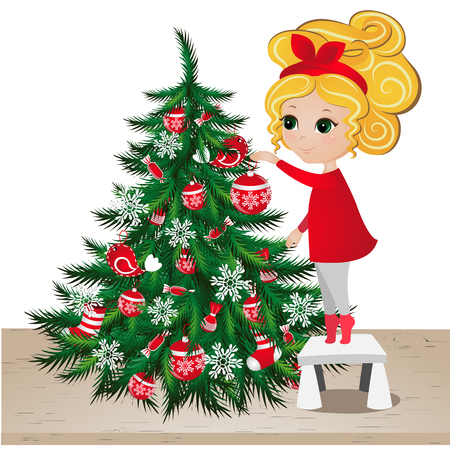 Cute girl with Christmas tree. New Year background. Greeting Card for your design Illustration