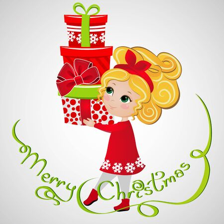 Cute ginger girl with Christmas presents. New Year background. Greeting Card for your design