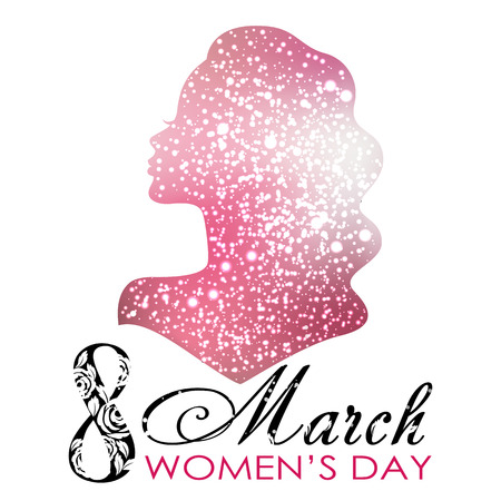 Womens Day. Vector Greeting Card with Woman Silhouette. The 8th of March