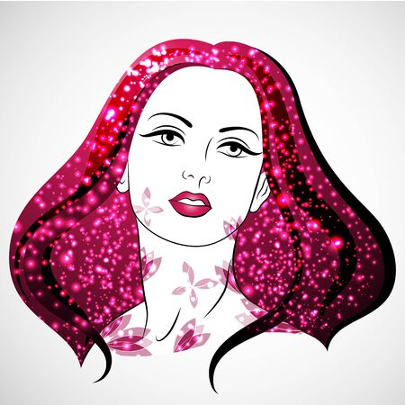 Vector Woman portrait with blossom and shine. Womens Day. Love and Passion