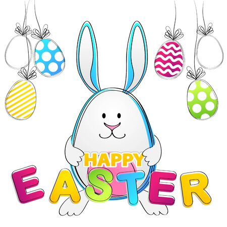 Easter Bunny. Vector Greeting Card with rabbit and egs Illustration