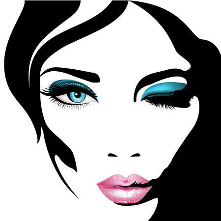 Womans face. Vector illustration. Realistic pink lips ann blue eyes with chic eyelashes