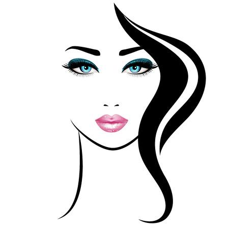 Womans face. Illustration vectorielle. Lèvres roses réalistes et yeux bleus aux cils chic Banque d'images - 74241466