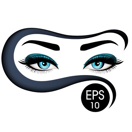 Les beaux yeux de Womans au niqab. Illustration vectorielle. Les yeux bleus réalistes aux cils chic Banque d'images - 74241484