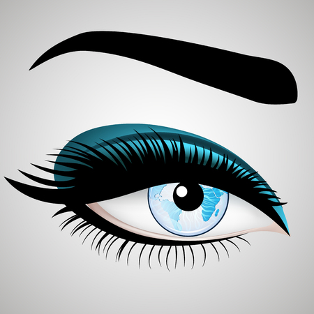 Illustration Vector Womans eyes with Planet Earth. Banque d'images - 74312296