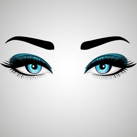 Les beaux yeux de Womans. Illustration vectorielle. Les yeux bleus réalistes aux cils chic Banque d'images - 74556262