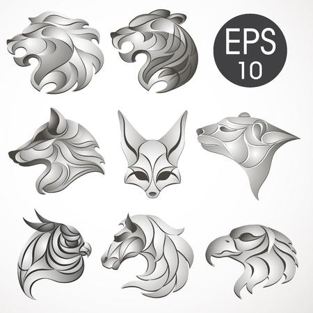Animal logo design collection. Animal set. Lion, Horse, Eagle, Wolf, White bear, Husky, Fennec, Tiger
