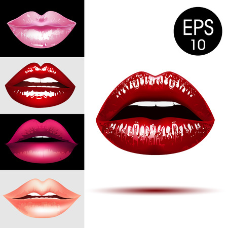 A Sexy shining lips set. Vector Realistic lips illustration.
