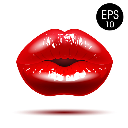 Chic Red lips. Vector illustration Ilustracja