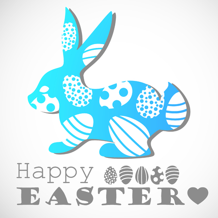 Easter bunny. Vector rabbit and easter eggs