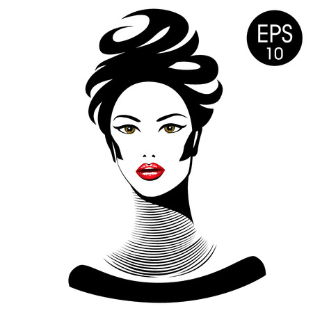 necklet: Vector Woman with red lips and long neck Illustration