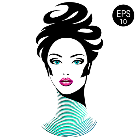 necklet: Vector Woman with chic lips and long neck. Beauty Girl Portrait