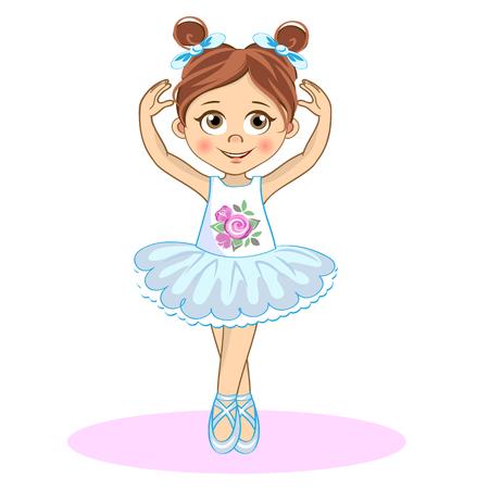 Jolie petite ballerine. Cute vector girl in pointe.
