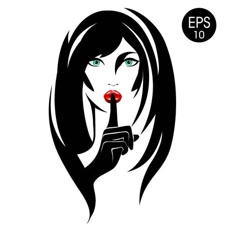 Quiet. Stock vector Woman with black hair, green eyes and red lips for your design Illustration