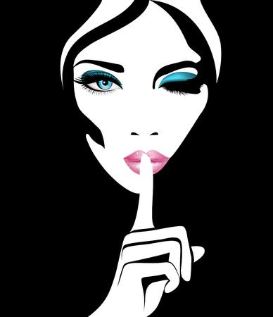 Ruhig. Stock Vektorgrafik Frau mit blauen Augen und rosa Lippen für Ihr design