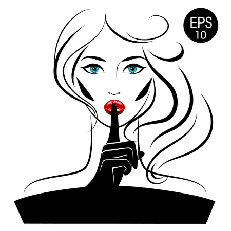 Quiet Please. Vector Woman with index finger on her lips Stok Fotoğraf - 80394048