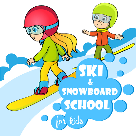 Vector template for ski and snowboard school. Kids on snowboard vector illustration.