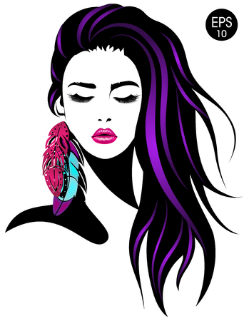 Vector portrait of pretty girl with color feathers.