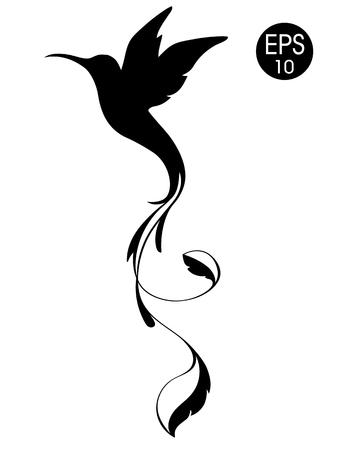 Colibri Bird Silhouette. Schwarze Vektorillustration des exotischen Fliegenkolibris lokalisiert auf weißem Hintergrund