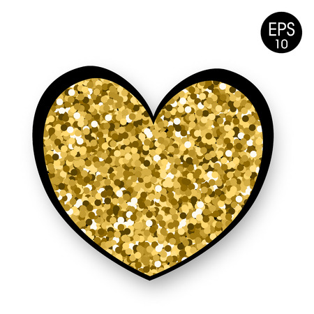 Golden Heart on white background. Valentines Day. 14 Fabruary. Vector background wiht heart