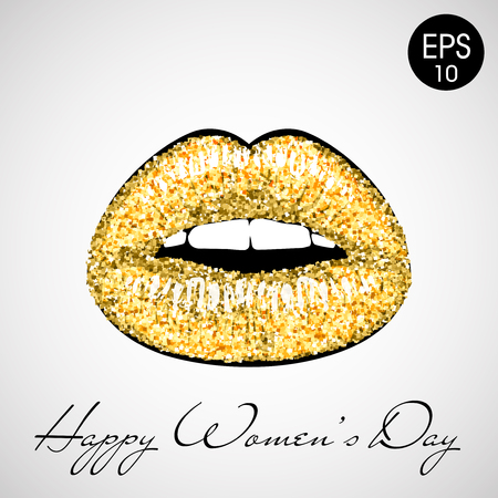 Golden lips Vector illustration isolated with text Happy womens day