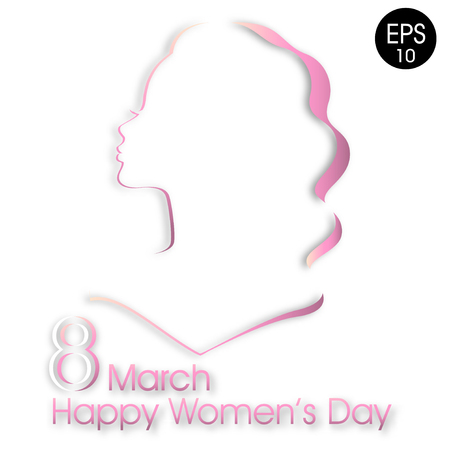 Happy Womens Day greeting card. Attractive pink women silhouette on white background with text 8 March womens day 일러스트