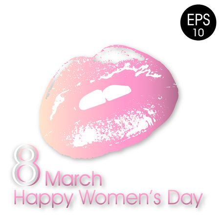8 March. Woman lips isolated Vector illustration with text Happy womens day