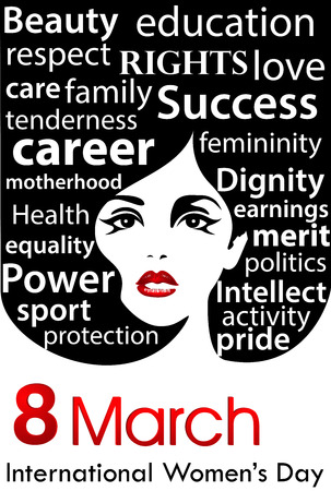 Women's Day poster. 8th of  March international women's day.