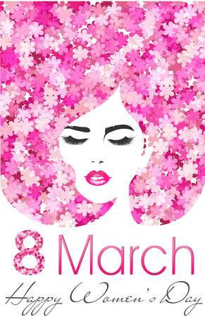 8 March. Happy Womens Day poster with flowers. International womens day.