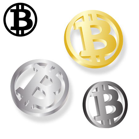 Bitcoin vector illustration. Golden and silver coins with bitcoin symbol isolated on white background for your design