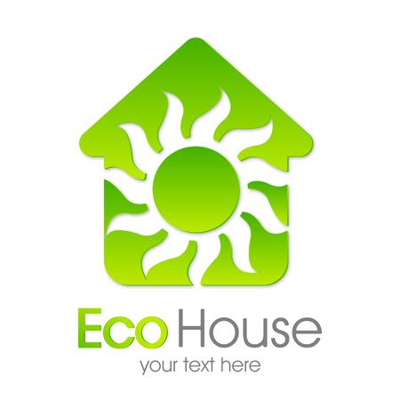 Eco House Vector. Green home Çizim