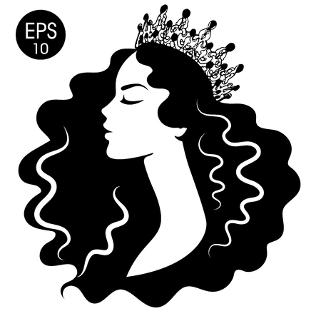 Reina. Mujer con corona. Silueta en blanco y negro. Ilustración de vector de princesa Ilustración de vector