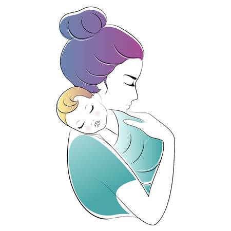 Mom and baby. Mothers Day Vector illustration. Baby sleeps on moms shoulder Archivio Fotografico - 124506918