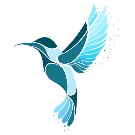 Logo ptaka Colibri. Ilustracja wektorowa egzotycznego latającego kolibra na białym tle