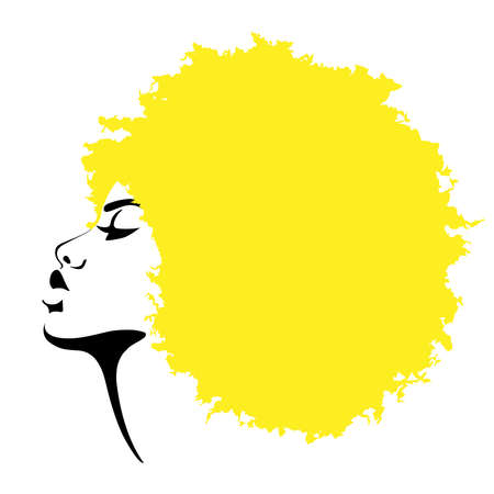 Beautiful black skined woman with yellow hair. Vector illustration.