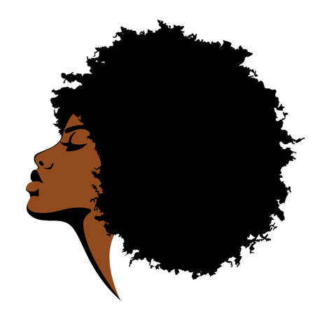Beautiful black skinned woman with curly hair on white