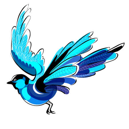 Flying blue bird vector illustration isolated on white background
