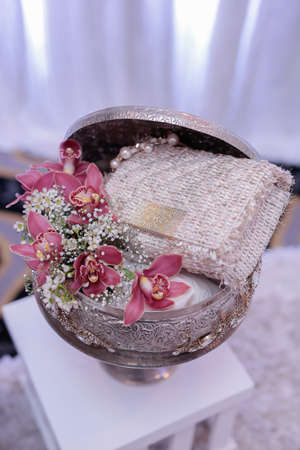 """Wedding dowry or """"Hantaran Perkahwinan"""" in Malay language consist of male and female accessories exchanged during the wedding. Keywords and description contain local word"""