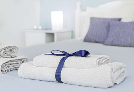 matress: Closeup of towels with natural blur in background