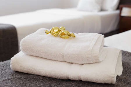 nice accommodations: Fresh Towels Stock Photo
